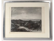 Engraving Veldhoen seascape dune Netherlands Holland seaside beach twentieth
