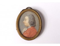 Small painted miniature oval Louis XV portrait gentleman noble eighteenth