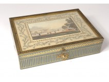 Painted wood box engraving English landscape bronze son gold foliage nineteenth