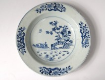 Hollow plate porcelain plate Company India white-blue garden Kangxi 18th