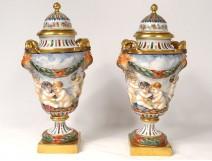 Pair pots cutlery porcelain Capodimonte fauns cherubs Bacchus nineteenth