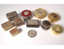 Lot 11 Round Boxes Miniature Boxes Metal Characters Women Nineteenth
