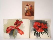 3 watercolor drawings bouquets flowers iris vase twentieth century