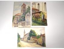 2 watercolor drawings church Cordon Haute-Savoie river barque clipet twentieth