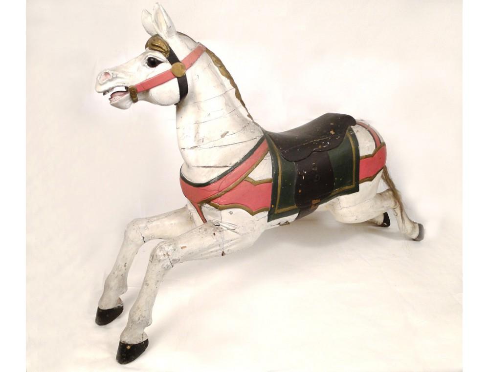 c8ad0240274 Cheval de manège en bois sculpté polychrome 19e siècle ...