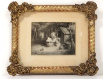 Drawing young child reading dog niche gilt frame romantic nineteenth century