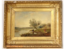 HST painting Galletti landscape woman guardian flock cows pond nineteenth