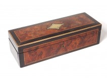 Glove box marquetry burr walnut wood blackened brass Napoleon III nineteenth