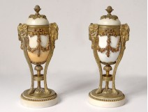 Pair cassolettes candlesticks Louis XVI bronze rams marble NapIII nineteenth