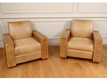 Pair armchairs leather club vintage library armchairs 1980 twentieth century