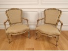 Pair Louis XV cabriolet armchairs carved wood lacquered flowers eighteenth century
