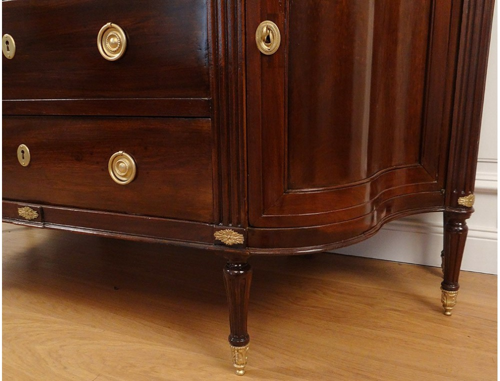 Large Chest Of Drawers Louis Xvi Half Moon Curved Mahogany