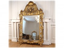 Large mirror Regency carved wood gilded painted colocynth flowers ice eighteenth