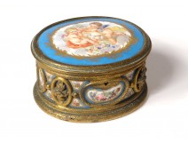 Small box jewelry box bronze gilt porcelain cherubs Napoleon III 19th