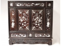 Small furniture cabinet wood mother of pearl characters pagodas Vietnam Indochina nineteenth