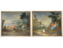 Pair HST paintings gallant scene characters landscape French School XVIII