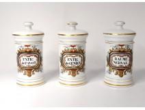 3 porcelain pharmacy pots Paris Nerval Poppy Genevieve flowers nineteenth