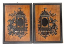 Pair picture frames inlaid walnut ebony Loves cherubs flowers 19th