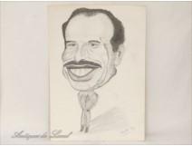 Drawing cartoon Hussein of Jordan 1977
