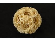 Canton ball carved ivory dragon star foliage China nineteenth century