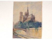 Watercolor drawing Notre-Dame cathedral of Paris Island Gothic city bridge twentieth