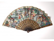 Fan gouache lacquered wood Chinese characters flowers antique nineteenth fan