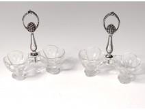 Pair salt shakers sterling silver Minerva crystal flowers Art Nouveau 19th