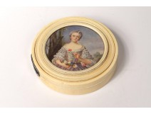 Hand carved ivory round box painted romantic stylish woman nineteenth