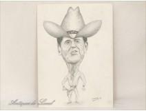 Ronald Reagan caricature drawing Mola 1982
