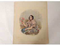 Watercolor on paper portrait young woman with flowers nineteenth century