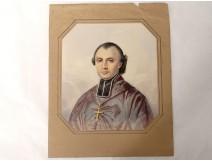 Watercolor on paper portrait ecclesiastical cross crucifix nineteenth century