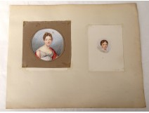 2 watercolors on paper portraits young women nineteenth century