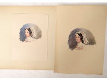 2 watercolors on paper study portrait young woman scarf nineteenth century