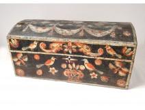Wedding chest Norman wood polychrome birds flowers eighteenth century