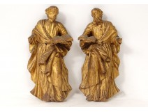 Pair sculptures Evangelists Saints Bible carved wood gilded eighteenth century