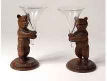 Pair sculptures bear wood Black Forest cornet glass flower holder nineteenth