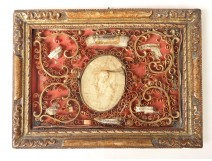 Reliquary paperolle golden frame medallion wax Pope Clement X Saints eighteenth
