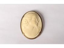 Brooch carved ivory medallion portrait woman symbolist silver vermeil twentieth