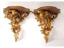 Pair consoles Italian wall carved gilded foliage twentieth