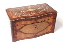 vBox tea marquetry loupe amboine rosewood nacre Napoleon III nineteenth