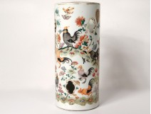 Large Chinese porcelain brush pot roosters landscape flowers Tongzhi nineteenth