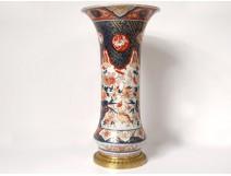 Large Chinese porcelain cornet vase birds rooster flowers gilt bronze nineteenth