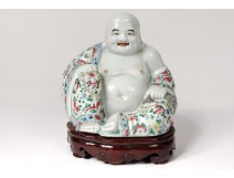 Sculpture statue Buddha laughing Chinese porcelain polychrome signed nineteenth