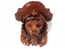 Large walnut applique console carved lion head wreath flowers nineteenth