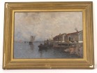 HST marine painting Wilhelm von Gegerfelt fishing huts Sweden boats 19th
