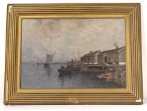 HST marine painting Wilhelm von Gegerfelt fishing huts Sweden boats 19th