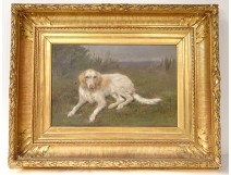 HST animal painting Nathalie Micas dog hunting spaniel golden frame nineteenth