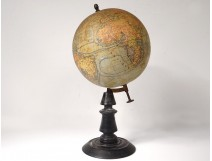 Earth Globe Geosphere Geographer Joseph Forest Paris Blackened Wood Nineteenth