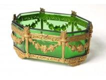 Small cup empty pocket golden brass crystal candlesticks Napoleon III nineteenth