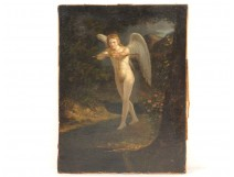 HST table angel cupid landscape forest flowers bow arrow eighteenth century